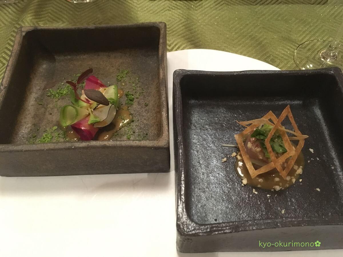 金閣寺の町家フレンチ、京都喜Shinのディナー・前菜