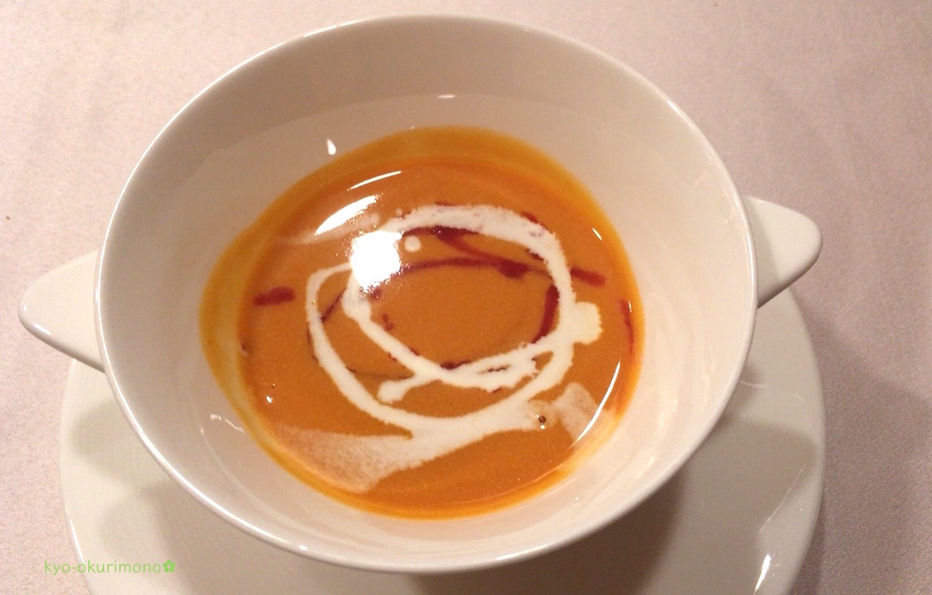 ANAホテル京都ローズルームの南瓜とトマトのスープ
