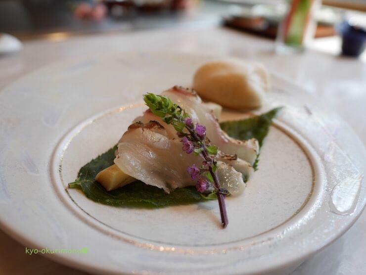 京都ブライトンホテルの鉄板焼き膰(ひもろぎ)のランチ鯛の炙り2