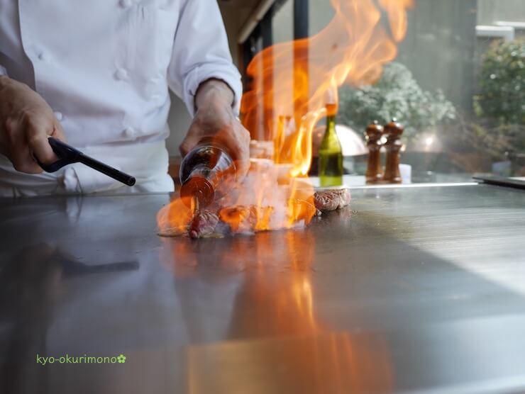 京都ブライトンホテルの鉄板焼き膰(ひもろぎ)のランチ米沢牛