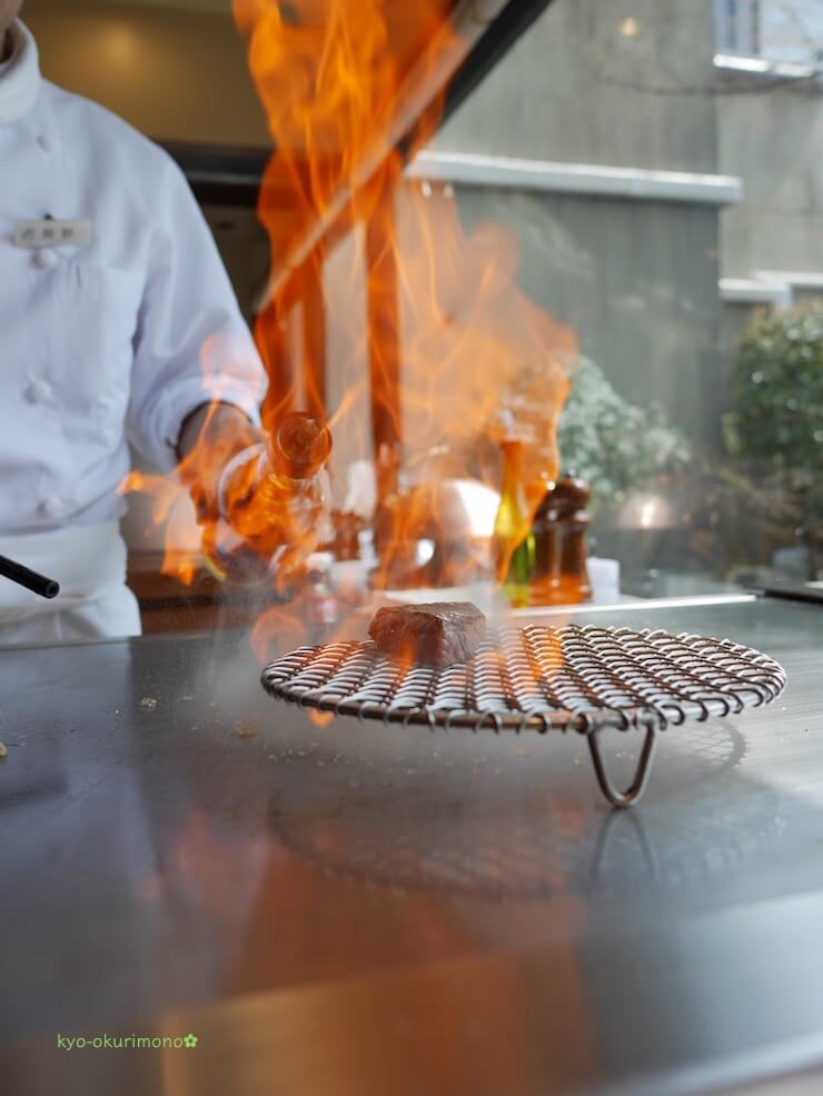 京都ブライトンホテルの鉄板焼き膰(ひもろぎ)のランチ米沢牛イチボ